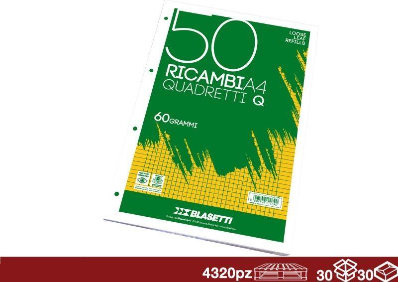 FOGLI DI RICAMBIO PICCOLI A5 COLORATI 1 RIGO 5 mm 80GR 40 FOGLI BLASETTI